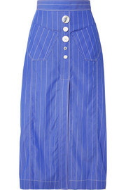 Aggie embellished pinstriped cotton-poplin midi skirt