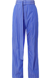 Ellery The Groove pleated pinstriped cotton-poplin pants