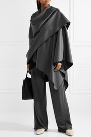 Shane leather-trimmed wool cape