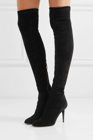 Jimmy Choo Boots Toni 90 stretch-suede over-the-knee boots
