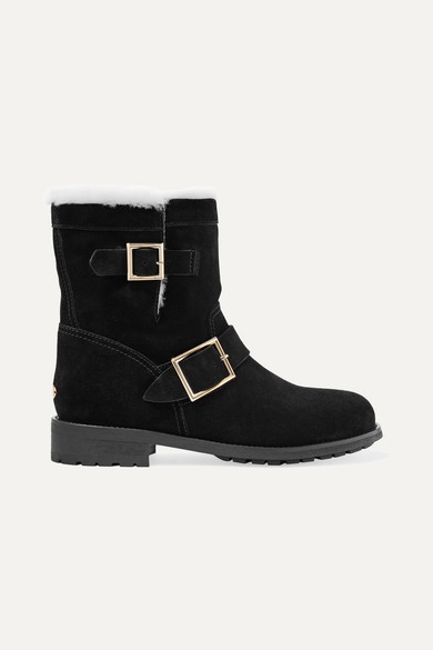 JIMMY CHOO YOUTH SHEARLING-LINED SUEDE ANKLE BOOTS
