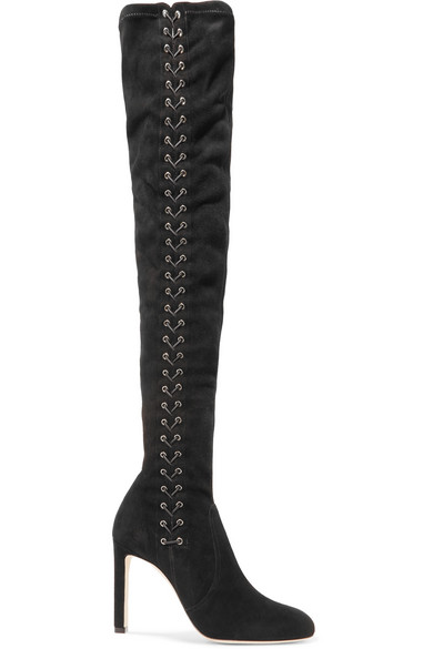 Jimmy Choo Boots Marie lace-up suede over-the-knee boots