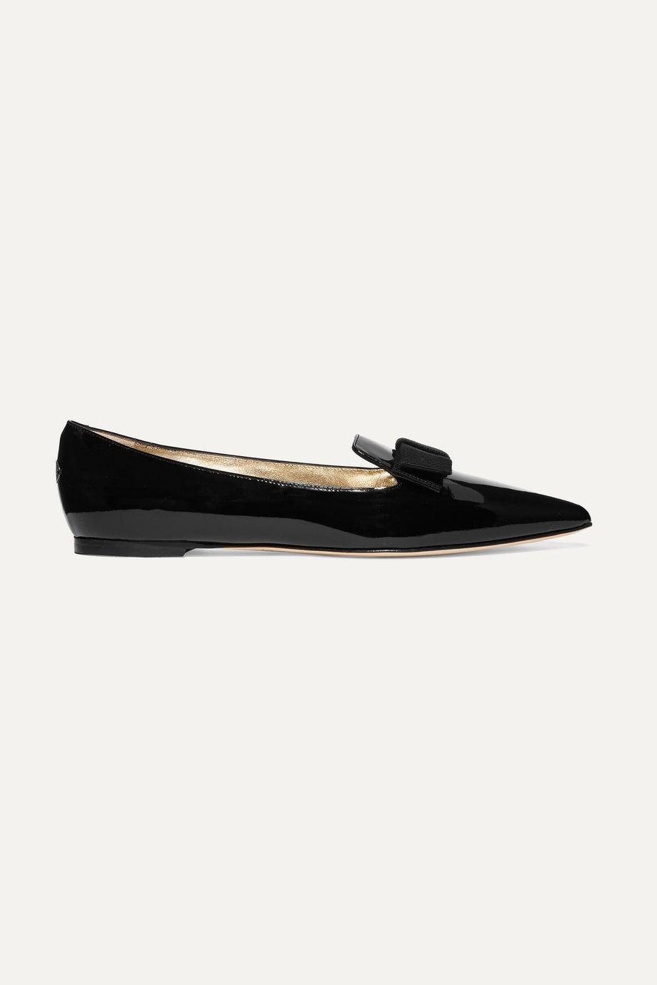 Jimmy Choo Gala grosgrain-trimmed patent-leather point-toe flats