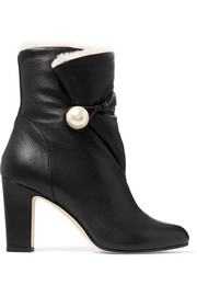Jimmy Choo Bethanie 85 shearling-lined textured-leather ankle boots