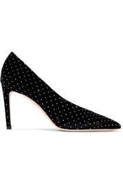 Jimmy Choo Sophia 85 Pumps aus Samt in Glitter-Optik