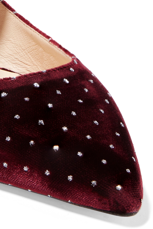 Jimmy Choo Gianna embellished glittered velvet point-toe flats