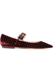 Jimmy Choo Gianna embellished glittered velvet point-toe flats