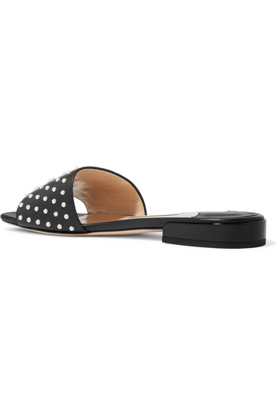 Jimmy Choo Slippers Joni faux pearl-embellished leather slides