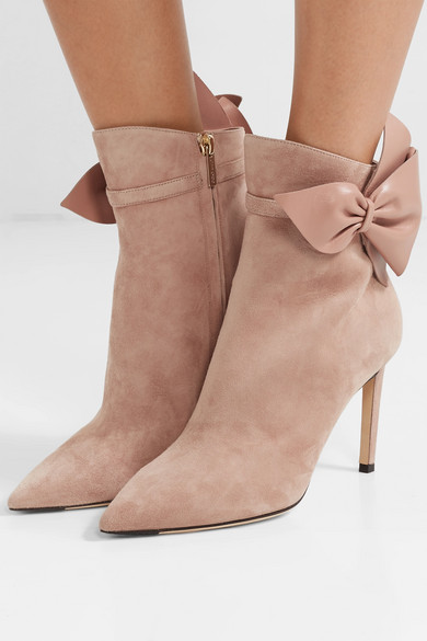 Kassidy 85 Leather Trimmed Suede Ankle Boots by Jimmy Choo
