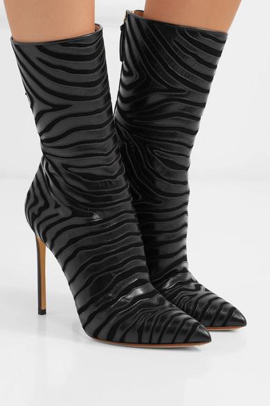 7e687fd3d467 Francesco Russo | Zebra-appliquéd leather and suede boots | NET-A ...