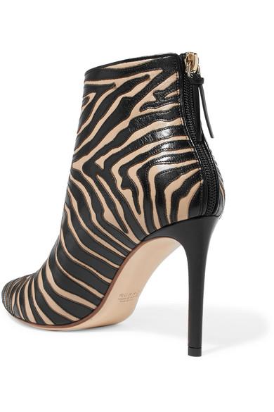 Francesco Russo Leder   Ankle Boots aus Leder Russo mit Zebra-Applikationen 067a7d