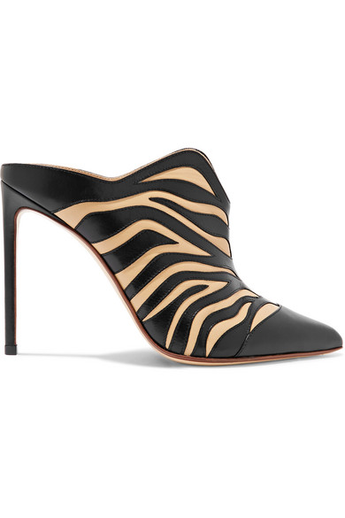 Francesco Russo - Zebra-appliquéd Leather Mules - Zebra print