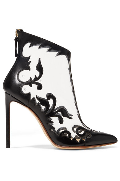 Floral Embroidered Transparent Booties, Black