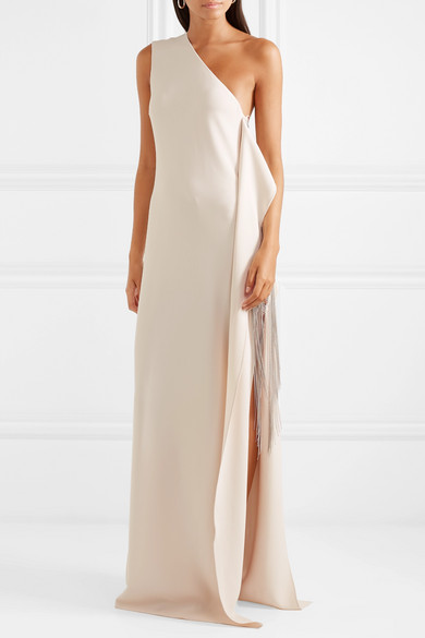 3d778295c16d Stella McCartney. One-shoulder chain-embellished stretch-cady gown
