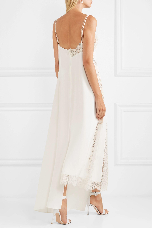 Stella McCartney Asymmetric lace-trimmed silk crepe de chine dress