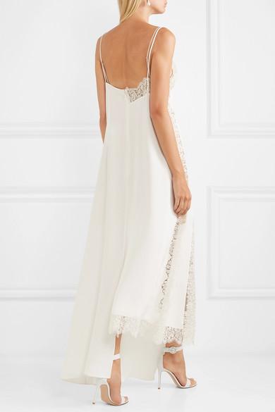 14fcf5b04 Stella McCartney. Asymmetric lace-trimmed silk crepe de chine dress.   2