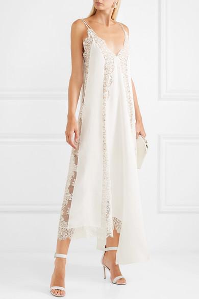 ca0a4b4f9361 Stella McCartney   Asymmetric lace-trimmed silk crepe de chine dress ...