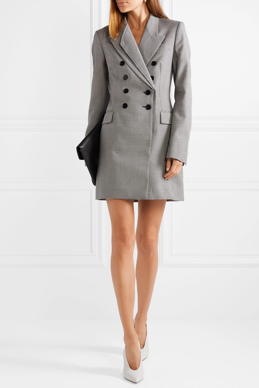 Stella McCartney Double-breasted houndstooth wool-tweed mini dress