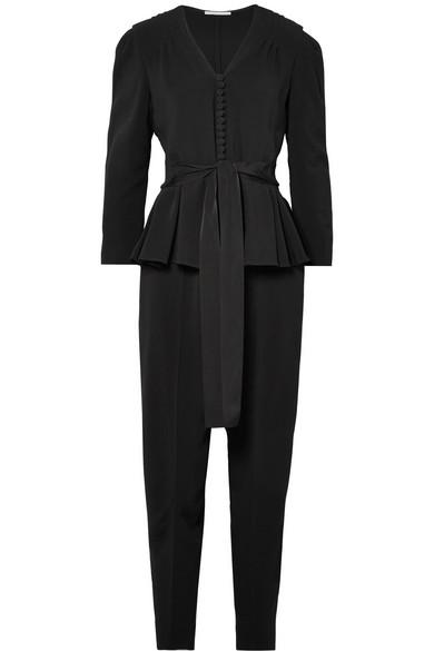 Stretch-Cady Peplum Jumpsuit in Black
