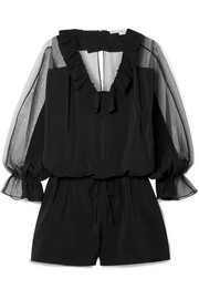 Stella McCartney Ruffled silk crepe de chine and cotton-blend tulle playsuit