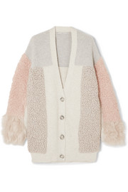 Stella McCartney Oversized patchwork cotton-blend and faux fur cardigan