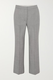 Cropped houndstooth wool straight-leg pants