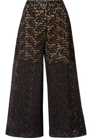 Stella McCartney Cropped corded cotton-blend lace wide-leg pants