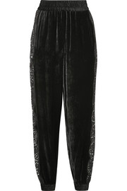 Stella McCartney Lace-trimmed velvet track pants