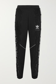 Stella McCartney + adidas Originals lace-paneled cotton-jersey track pants