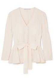 Stella McCartney Faille-trimmed cady peplum blouse