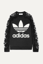 Stella McCartney + adidas lace-paneled printed cotton-jersey sweatshirt