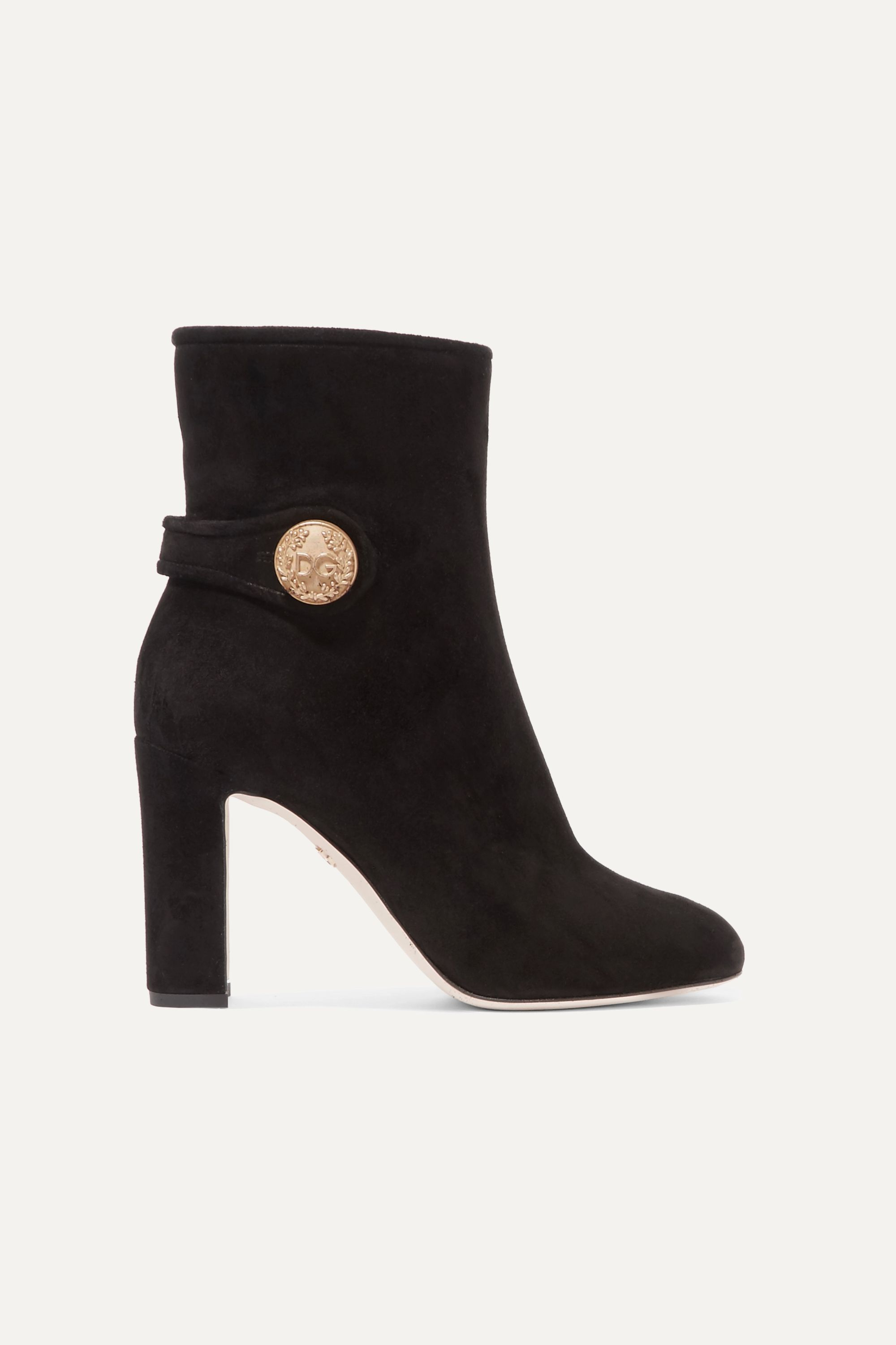 Black Suede Heeled Boots, Gold Button
