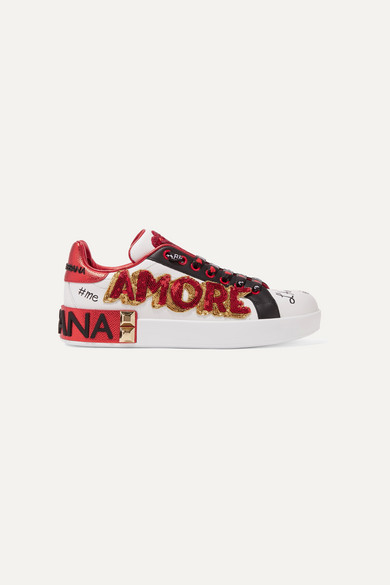 DOLCE & GABBANA EMBELLISHED PRINTED LEATHER SNEAKERS