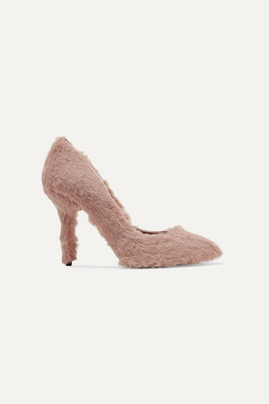 Faux Fur Pumps, Baby Pink