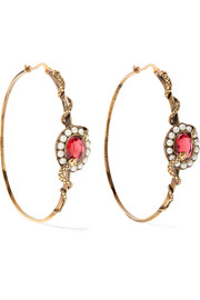 Gold-tone, crystal and faux pearl hoop earrings