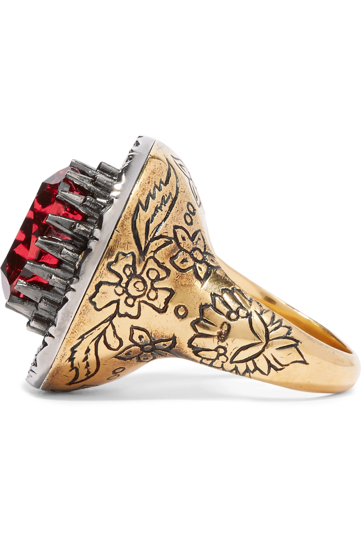 Alexander McQueen Bague en métal doré et cristaux