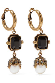 Gold-tone, crystal and pearl earrings