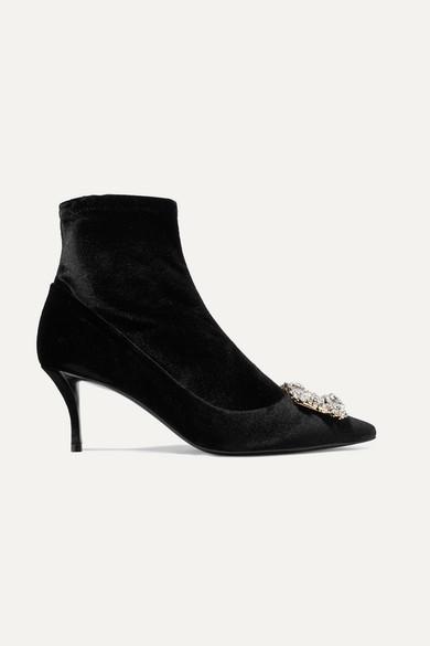 Crystal Embellished Velvet Sock Boots by Roger Vivier