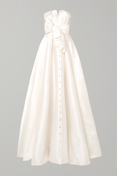 White Bow-detailed embellished satin-twill gown | Alexis Mabille uakp7Z