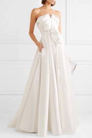 Bow-detailed embellished satin-twill gown