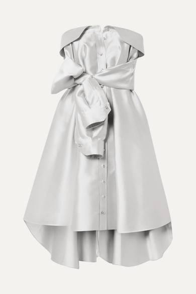 ALEXIS MABILLE Bow-Detailed Satin-Twill Mini Dress in Platinum