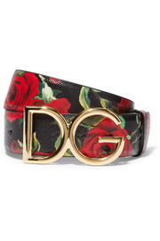 Floral-print textured-leather and gold-plated belt