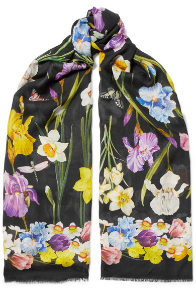 DOLCE & GABBANA FRAYED FLORAL-PRINT MODAL AND CASHMERE-BLEND SCARF