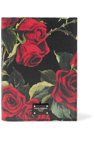Floral-Print Textured-Leather Passport Cover