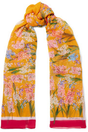 Floral-print silk-crepon scarf