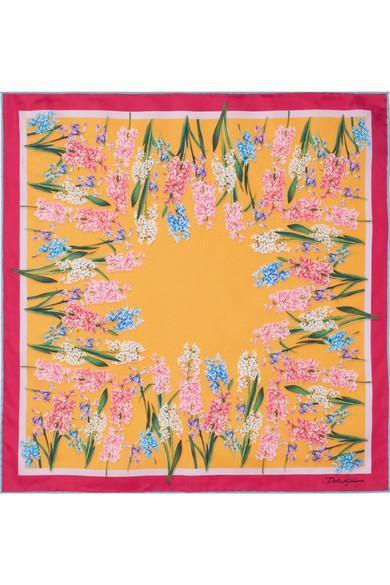 Dolce & Gabbana - Floral-print Silk-twill Scarf - Saffron