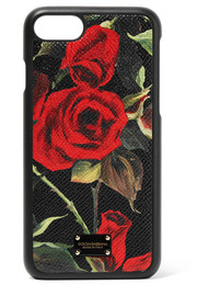 Floral-print textured-leather iPhone 7 and 8 case