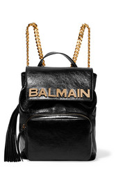 Balmain Embellished textured-leather backpack