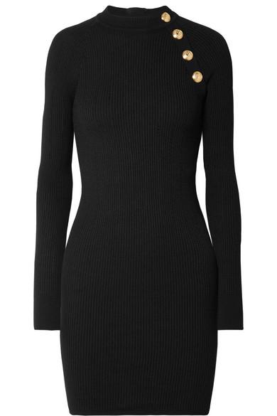 BALMAIN Button-Embellished Ribbed-Knit Mini Dress in Black