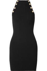 Balmain Button-embellished ribbed wool-blend mini dress